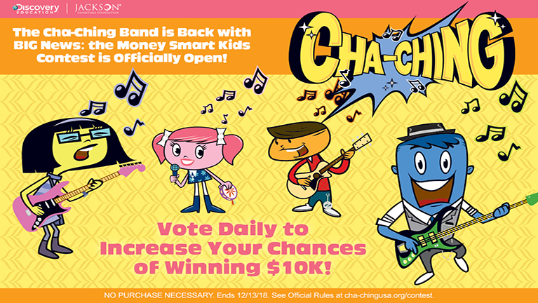 """Jackson Charitable Foundation and Discovery Education Launch Second Annual  """"Cha-Ching Money Smart Kids"""" Contest to Encourage Fiscally Fit Habits Among Youth"""